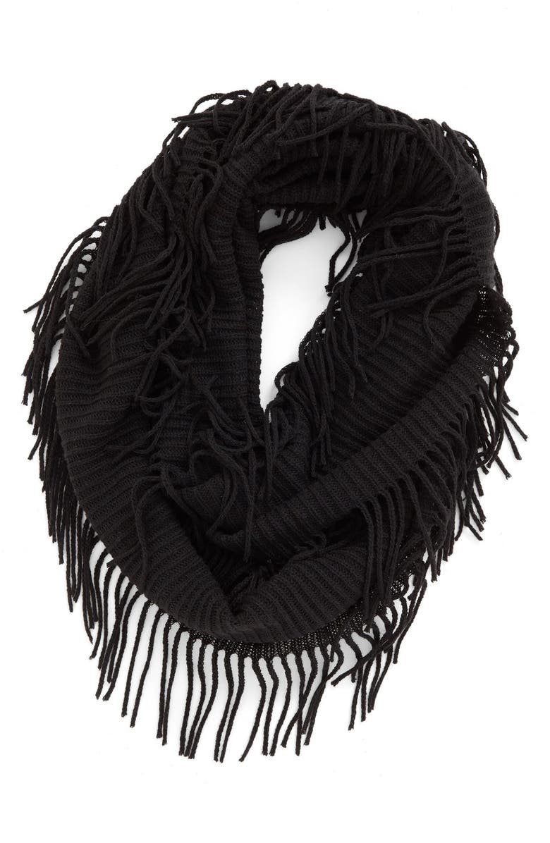BP. Rib Knit Fringe Infinity Scarf, Main, color, 001