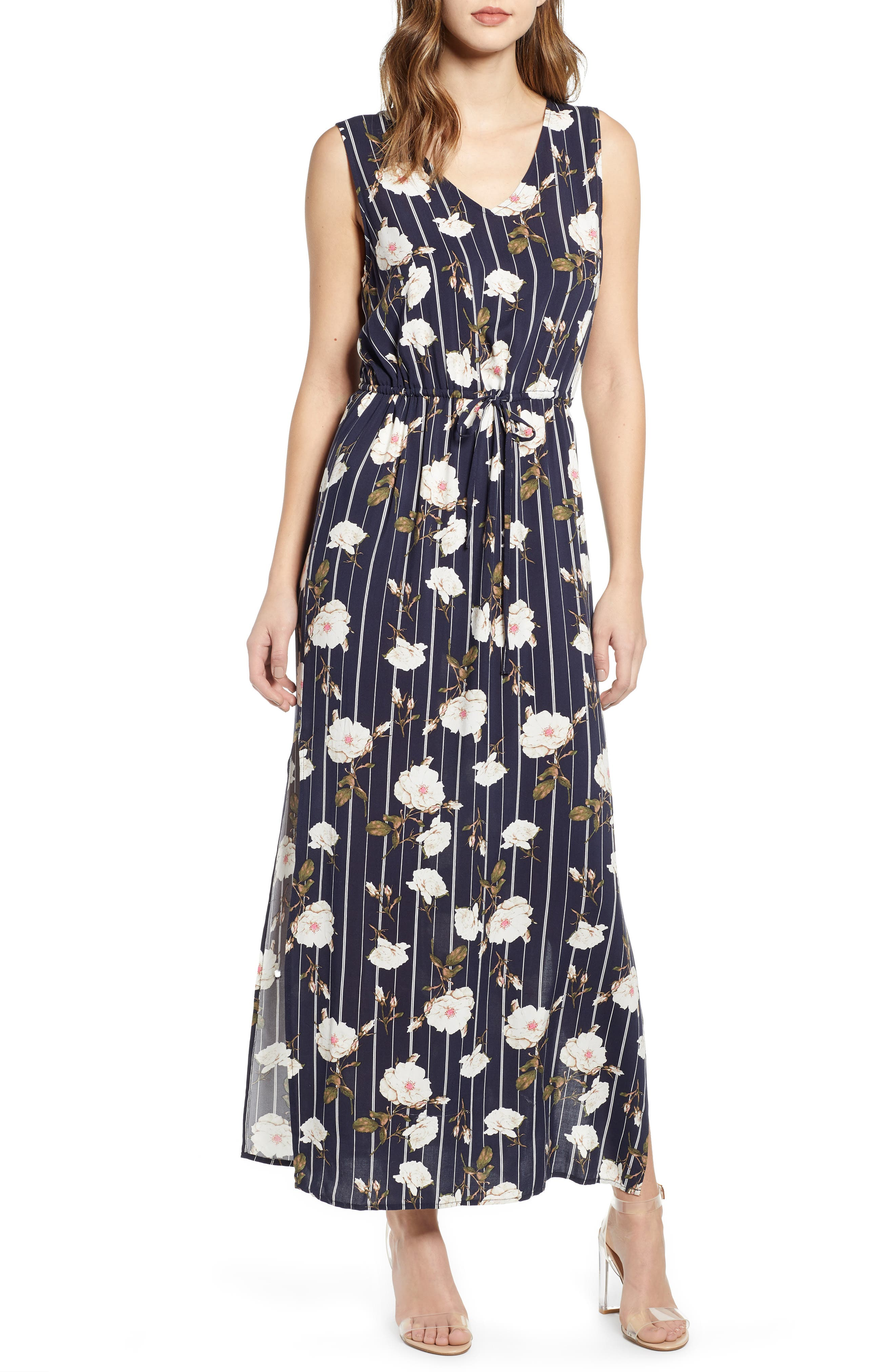 Vero Moda Simply Tank Tie Waist Maxi Dress, Blue