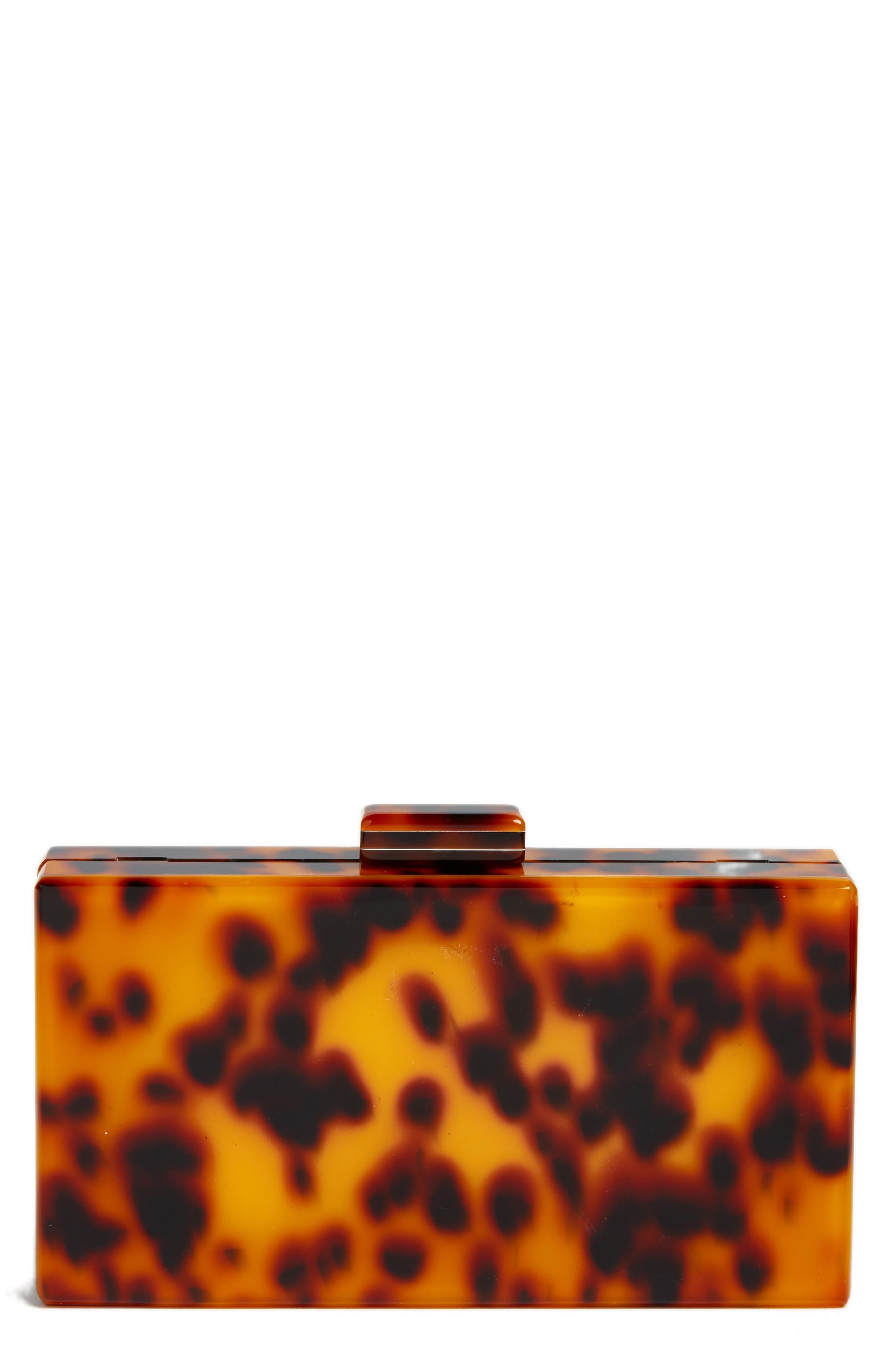 Pia Faux Tortoiseshell Box Clutch, Main, color, BROWN MULTI