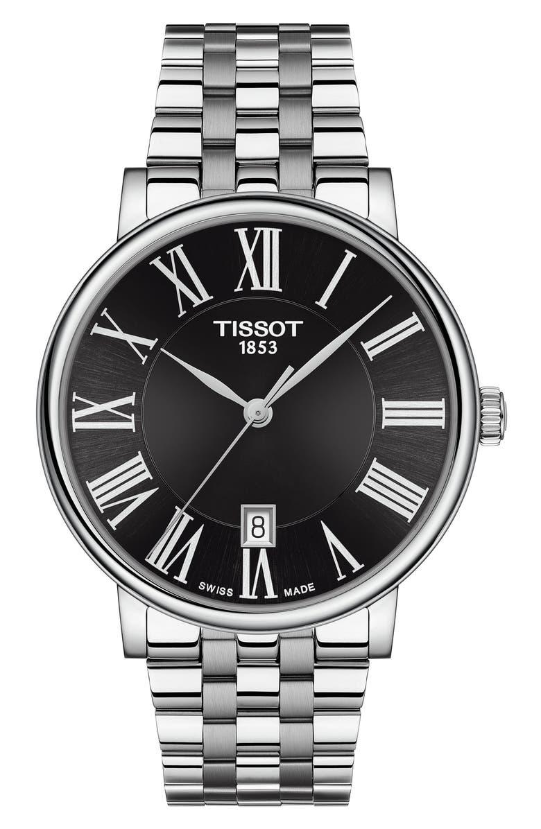 TISSOT T-Classic Carson Quartz Bracelet Watch, 40mm, Main, color, SILVER/ BLACK/ SILVER
