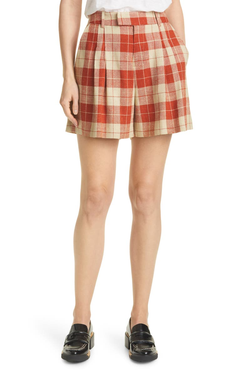 SMYTHE Plaid Walking Shorts, Main, color, RUST SPRING TWEED
