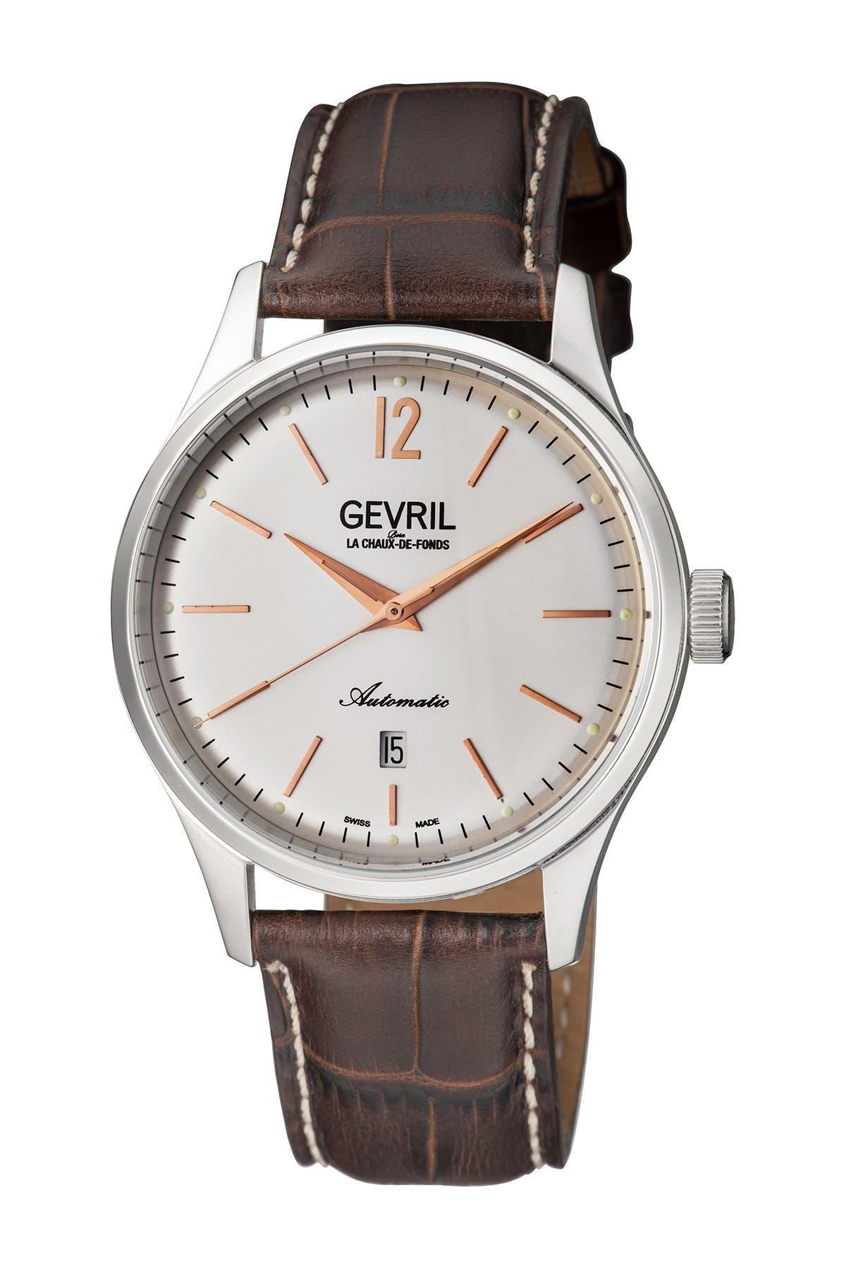 Image of Gevril Men's Five Points Alligator Embossed Leather Strap Watch, 43mm