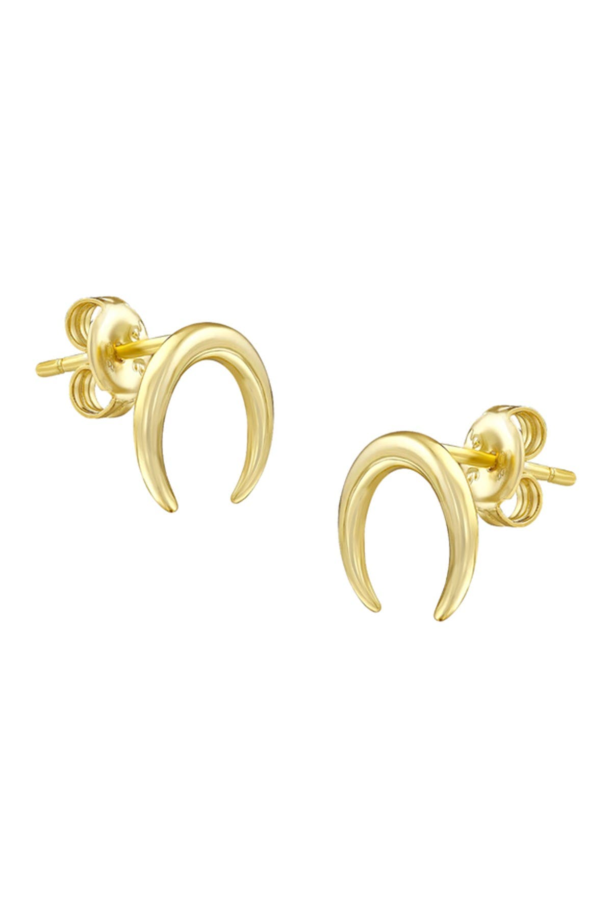 Image of Savvy Cie 18K Gold Vermeil 15mm Crescent Moon Stud Earrings