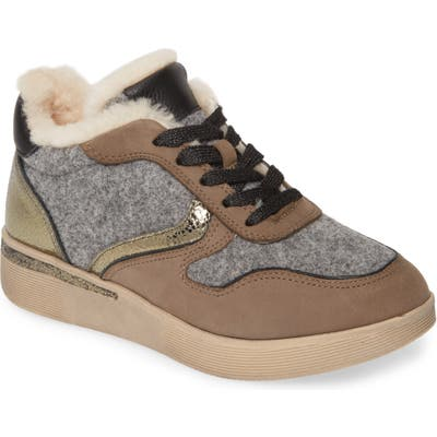 Gentle Souls By Kenneth Cole Haddie Genuine Shearling Lined Sneaker Boot- Grey