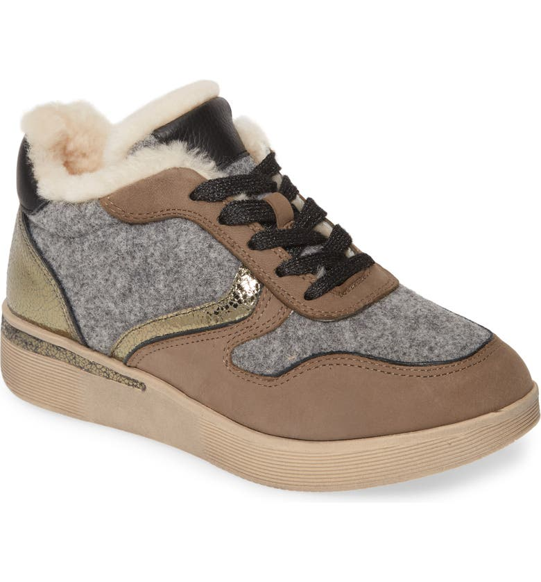 GENTLE SOULS BY KENNETH COLE Haddie Genuine Shearling Lined Sneaker Boot, Main, color, GREY NUBUCK LEATHER