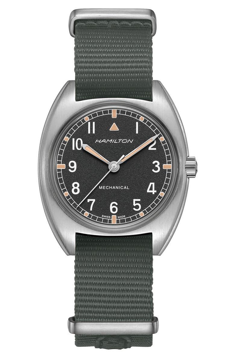 HAMILTON Khaki Aviator Pilot Pioneer NATO Strap Watch, 36mm x 33mm, Main, color, 020