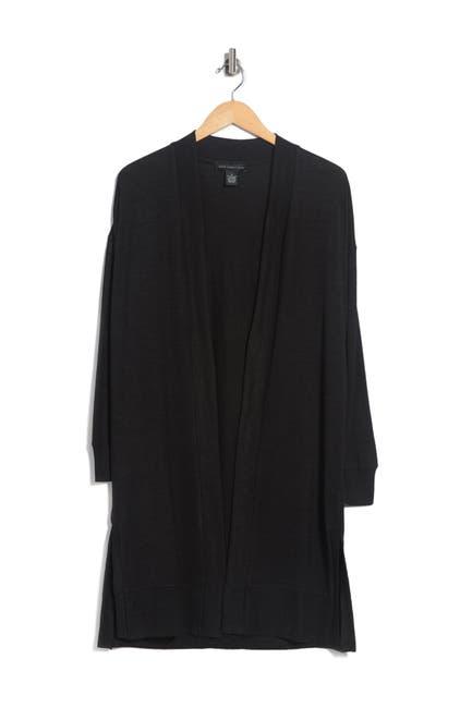 Image of Joan Vass Ribbed Knit Long Line Cardigan