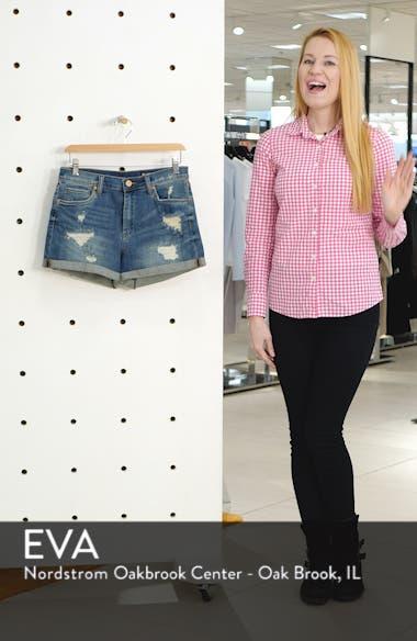 High Waist Boyfriend Denim Shorts, sales video thumbnail