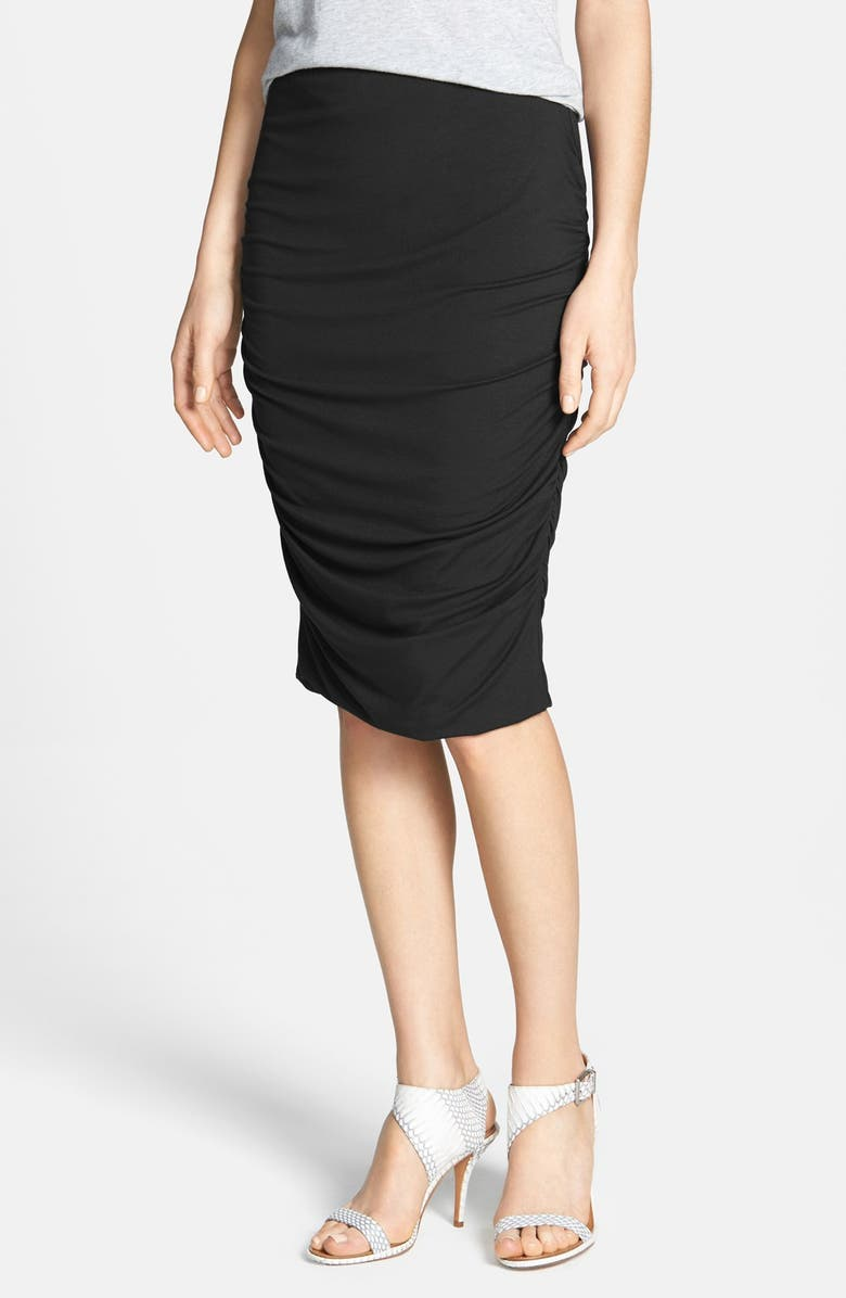 VINCE CAMUTO Ruched Midi Tube Skirt, Main, color, 001