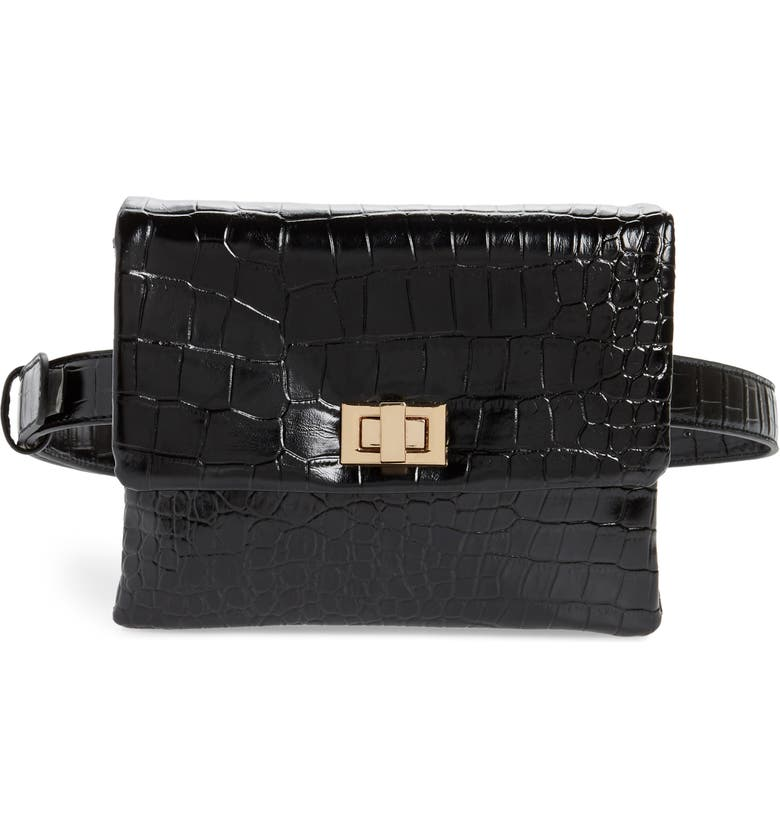 MALI + LILI Aria Convertible Vegan Leather Belt Bag, Main, color, BLACK