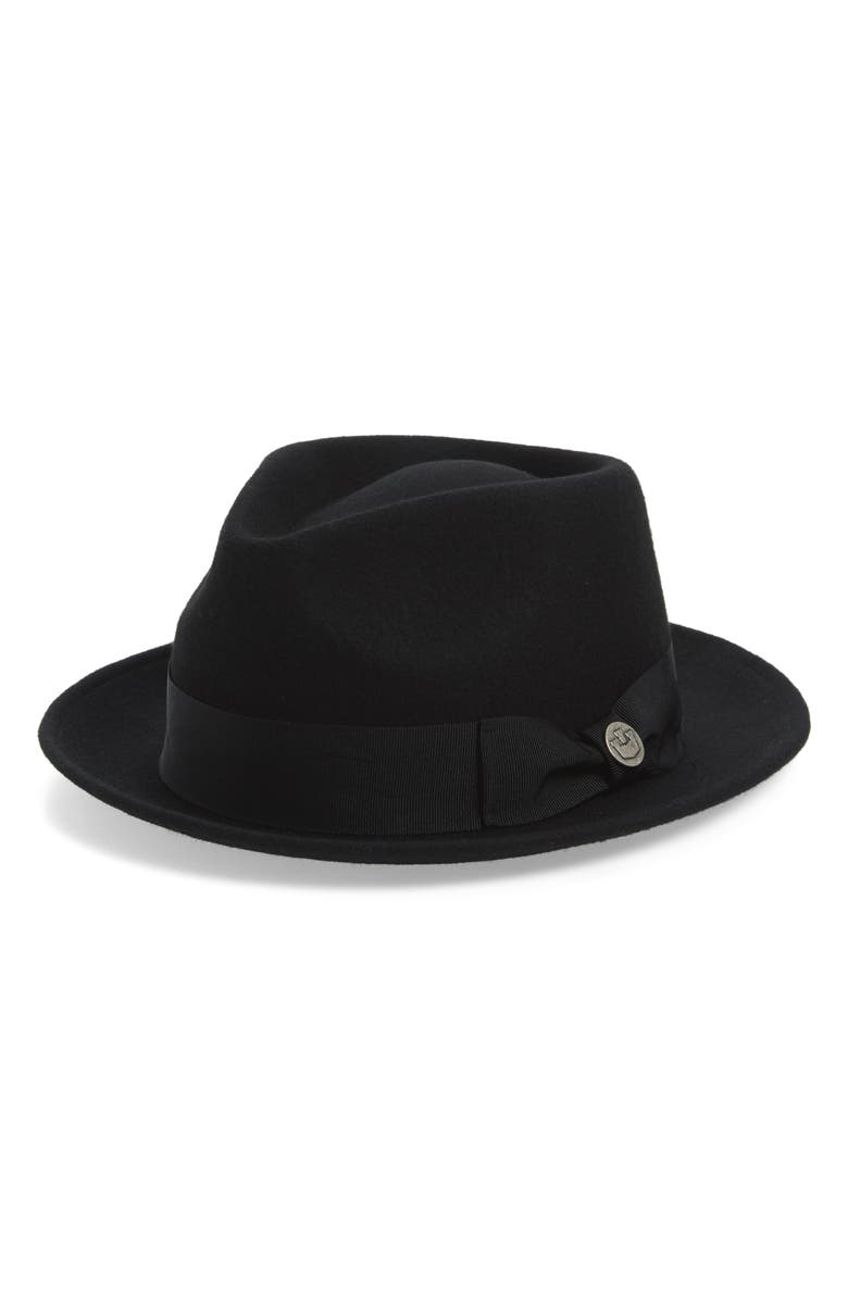 GOORIN BROS. Paxton Wool Fedora, Main, color, BLACK