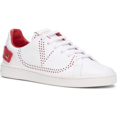Valentino Garavani Backnet Perforated Sneaker, White