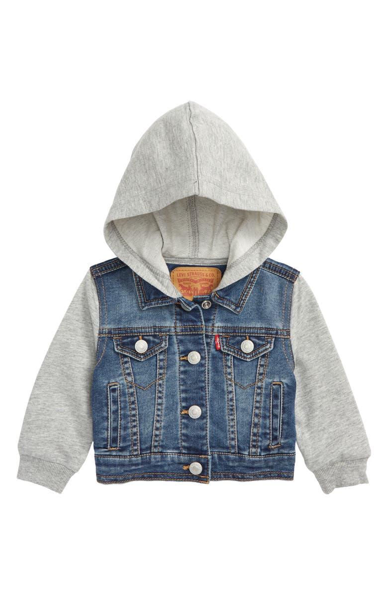 LEVI'S<SUP>®</SUP> Levi's<sup>®</sup> Indigo Hooded Trucker Jacket, Main, color, 452