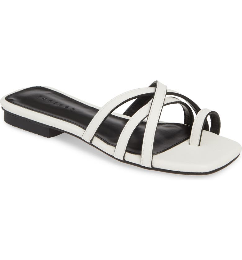 TOPSHOP Hippie Square Slide Sandal, Main, color, WHITE