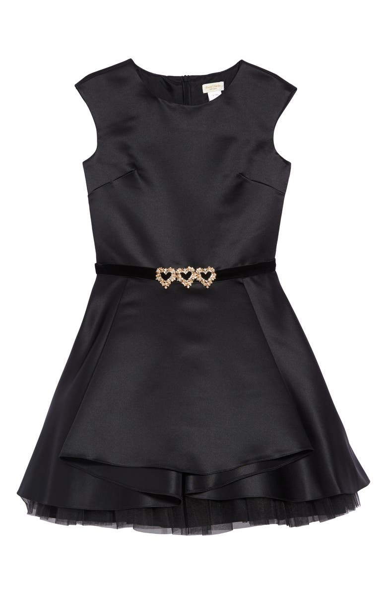 DAVID CHARLES Embellished Heart Fit & Flare Dress, Main, color, BLACK