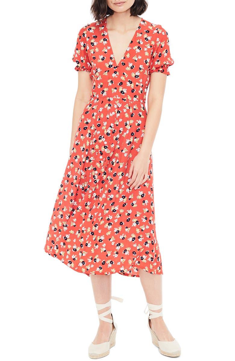 FAITHFULL THE BRAND Ari Floral Midi Dress, Main, color, 604