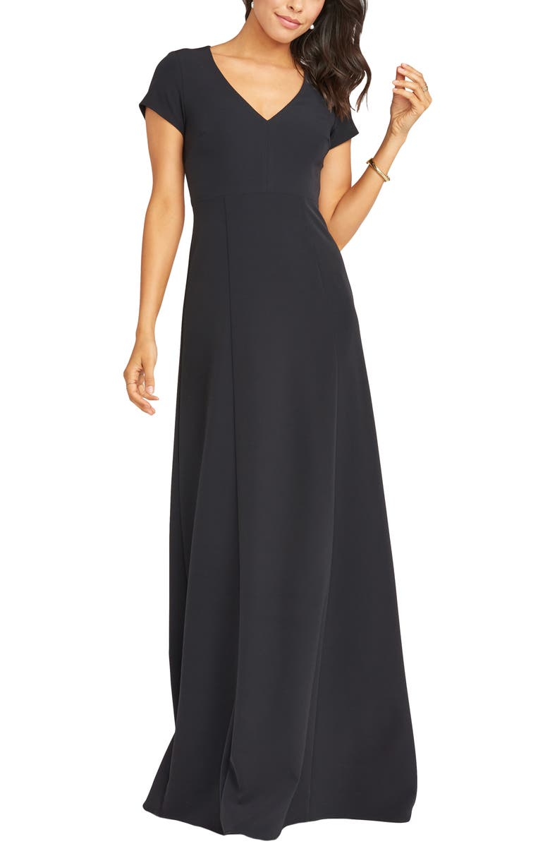SHOW ME YOUR MUMU Geneva Gown, Main, color, BLACK STRETCH CREPE