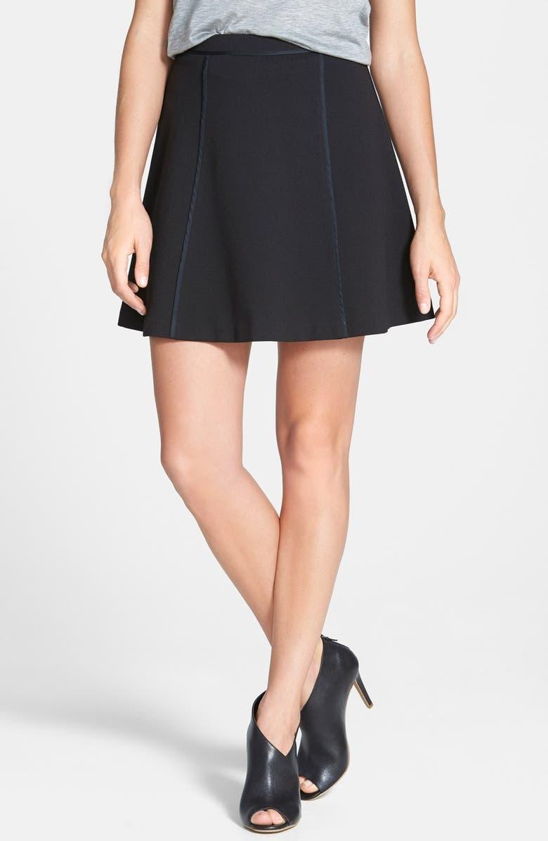 MICHAEL MICHAEL KORS Seam Detail Flare Miniskirt, Main, color, 001