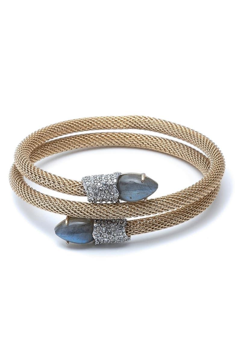 Alexis Bittar Crystal Encrusted Double Coil Mesh Bracelet
