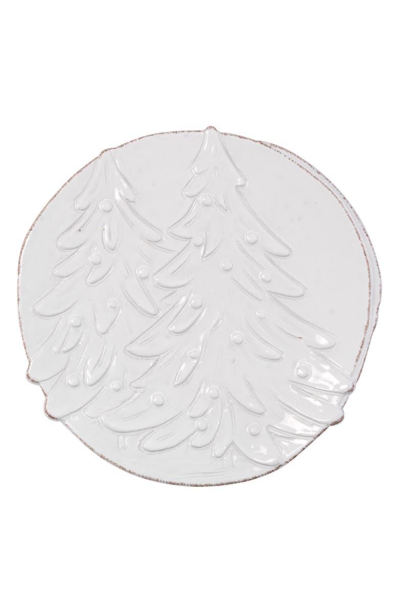 VIETRI Lastra Winterland Round Platter, Main, color, WHITE