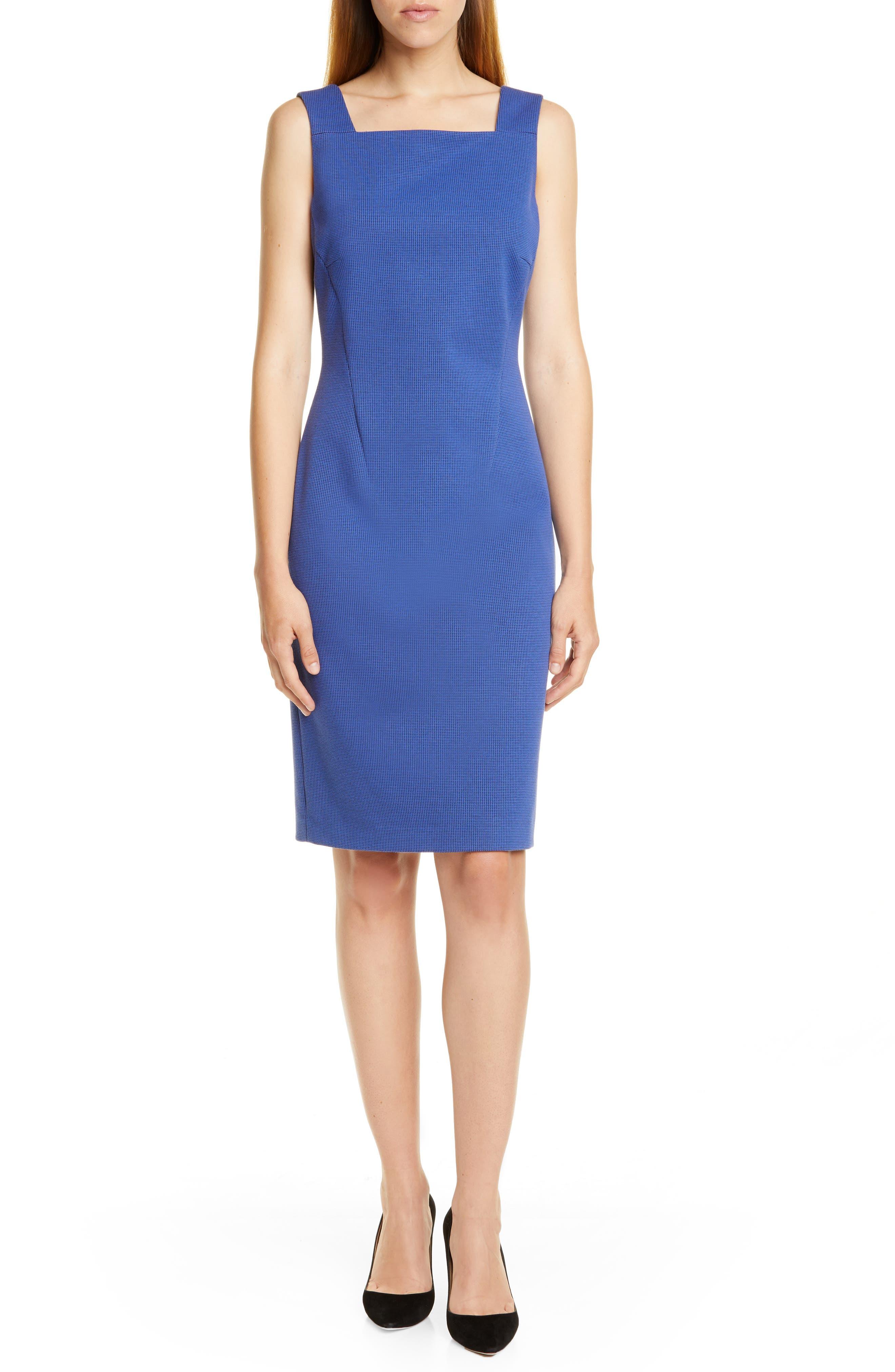 Boss Davenara Square Neck Cotton Blend Sheath Dress, Blue