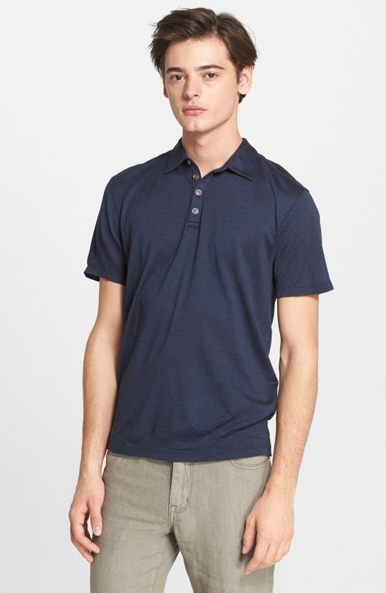 John Varvatos Hampton Slim Fit Silk & Cotton Polo In Marine Blue