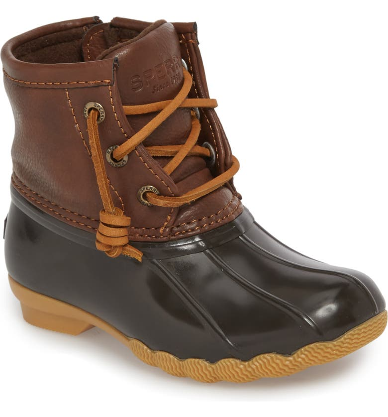 SPERRY KIDS Saltwater Duck Boot, Main, color, BROWN/ BROWN