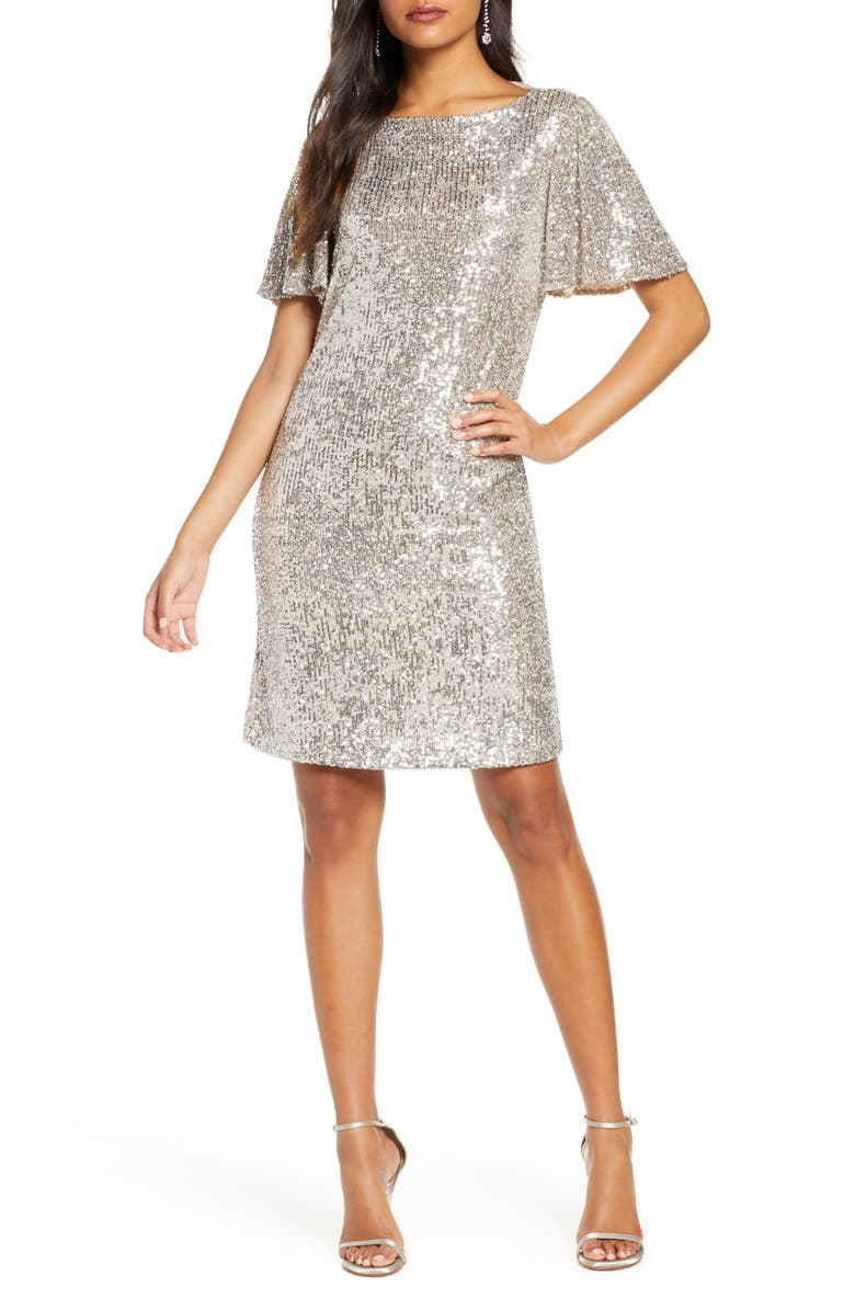 FOREST LILY Sequin Flutter Sleeve Shift Dress, Main, color, SILVER