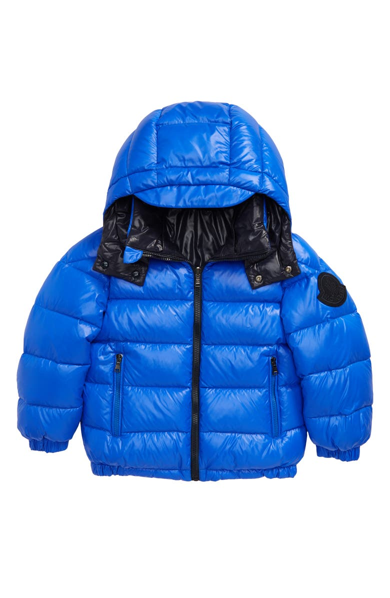 MONCLER Dieppe Water Resistant Channel Quilted Hooded Down Jacket, Main, color, COBALT