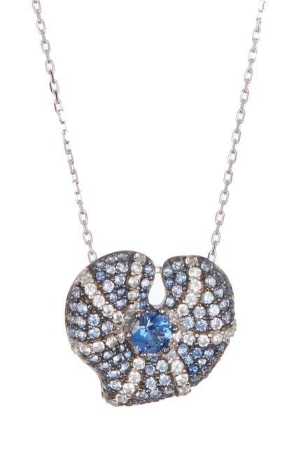 Image of Suzy Levian Sterling Silver Center Sapphire Heart Pendant Diamond Accent Necklace - 0.02 ctw