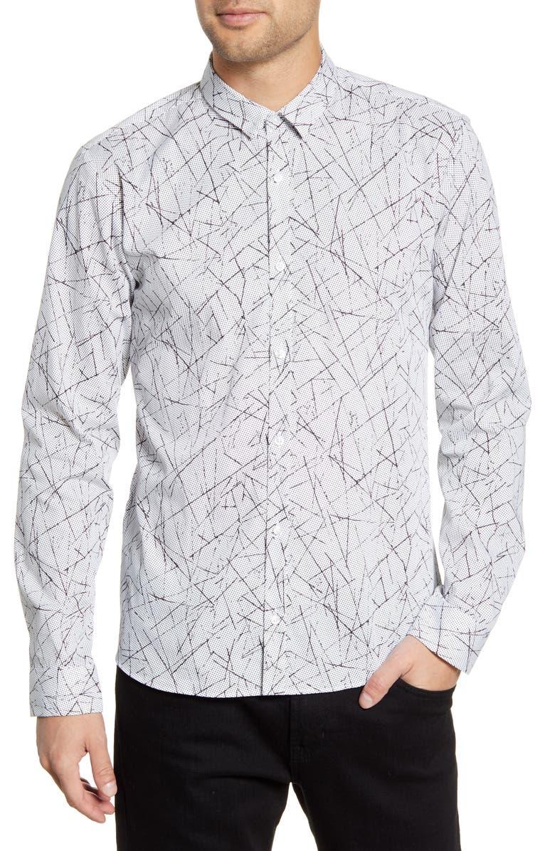HUGO Ero3-W Slim Fit Print Button-Up Shirt, Main, color, 199