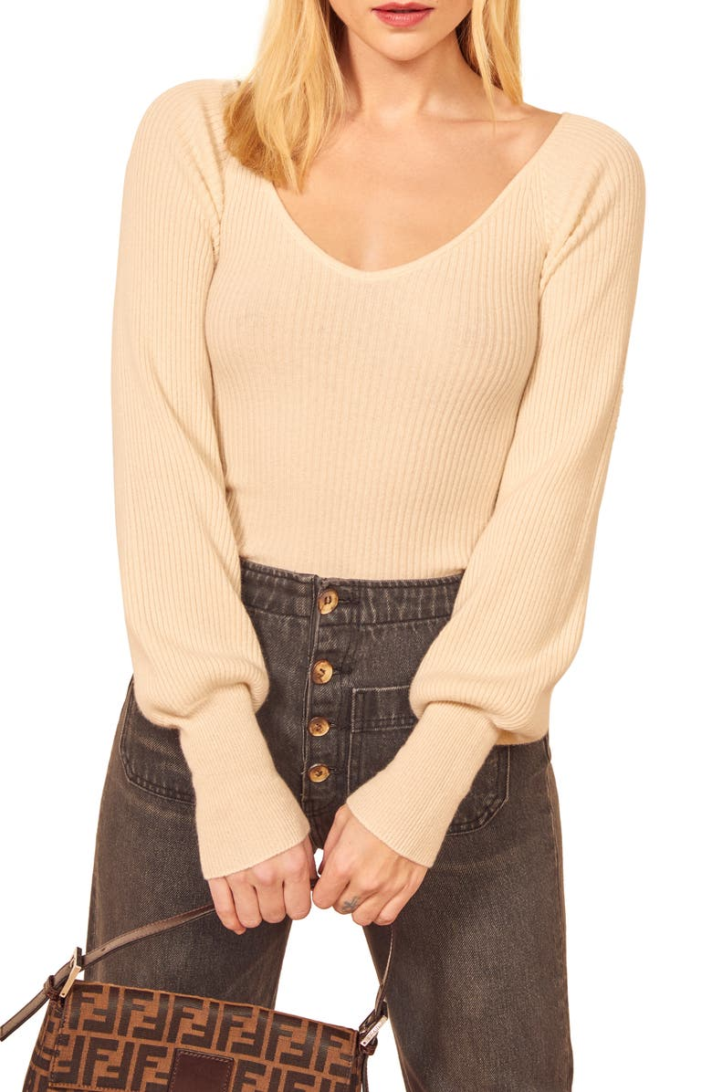 REFORMATION Hart Wide Neck Sweater, Main, color, IVORY