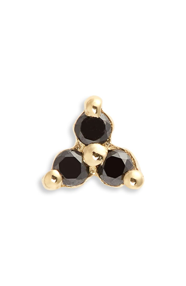 MARIA TASH Trinity Black Diamond Threaded Stud Earring, Main, color, 710