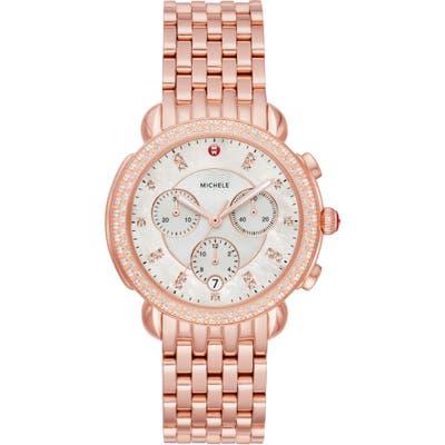 Michele Sidney 18 Chronograph Diamond Bracelet Watch,