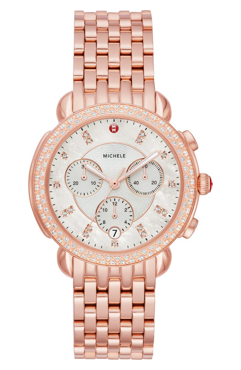 MICHELE Sidney 18 Chronograph Diamond Watch Head & Bracelet, 38mm, Main, color, ROSE GOLD/ MOP/ ROSE GOLD
