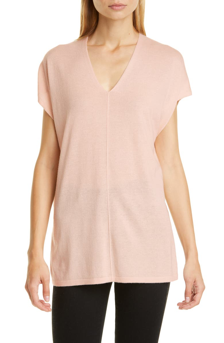 NORDSTROM SIGNATURE Silk & Cashmere Tunic, Main, color, PINK PEONY BUD