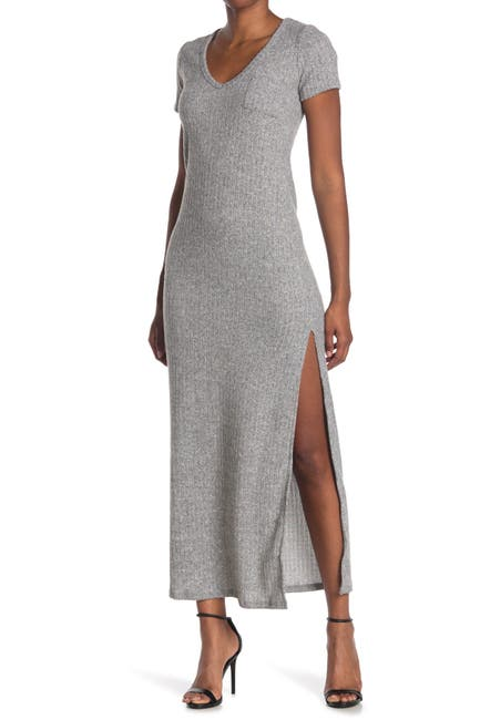 Image of Velvet Torch V-Neck Ribbed Knit Maxi Dress