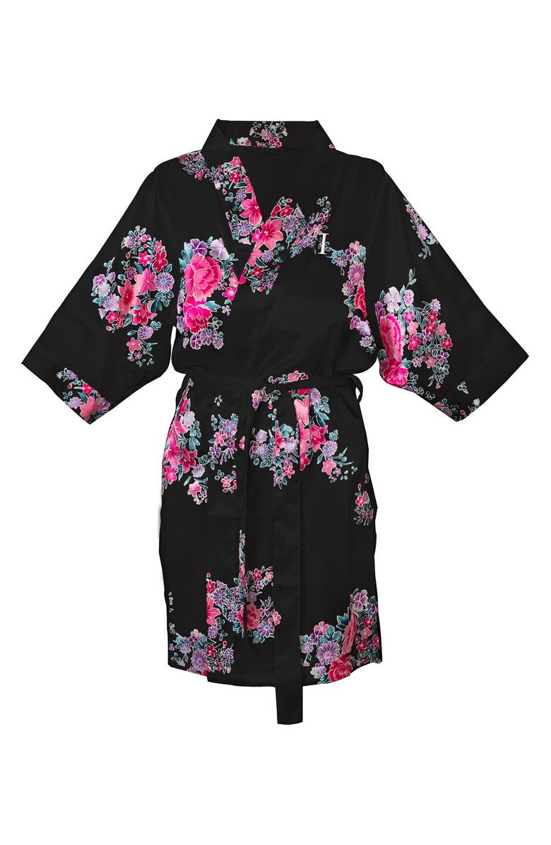 CATHY'S CONCEPTS Monogram Floral Satin Robe, Main, color, 010