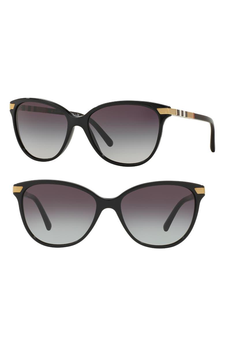 BURBERRY 57mm Cat Eye Sunglasses, Main, color, BLACK