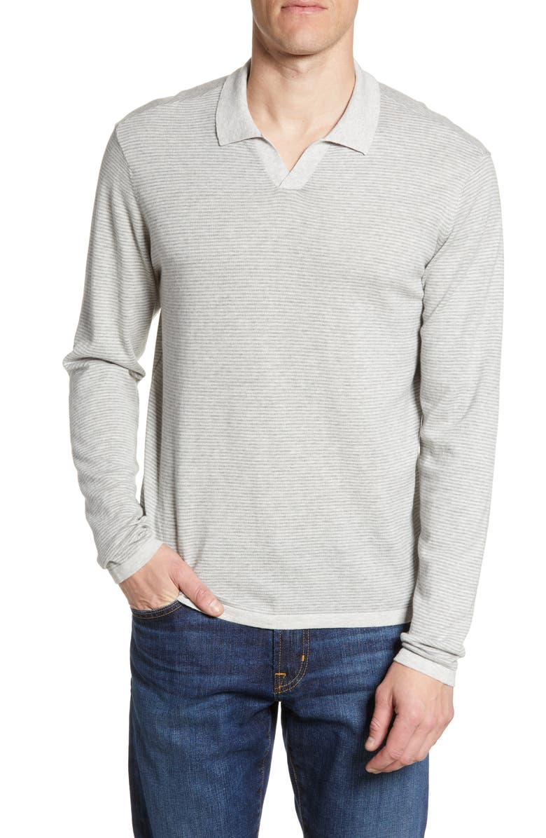 ROBERT BARAKETT Sarina Long Sleeve Johnny Collar Polo, Main, color, LIGHT GREY