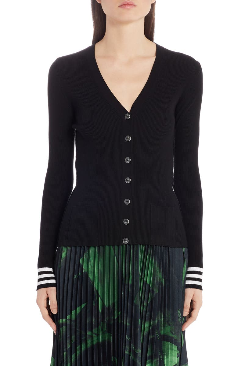 OFF-WHITE Industrial Ribbed Cardigan, Main, color, BLACK