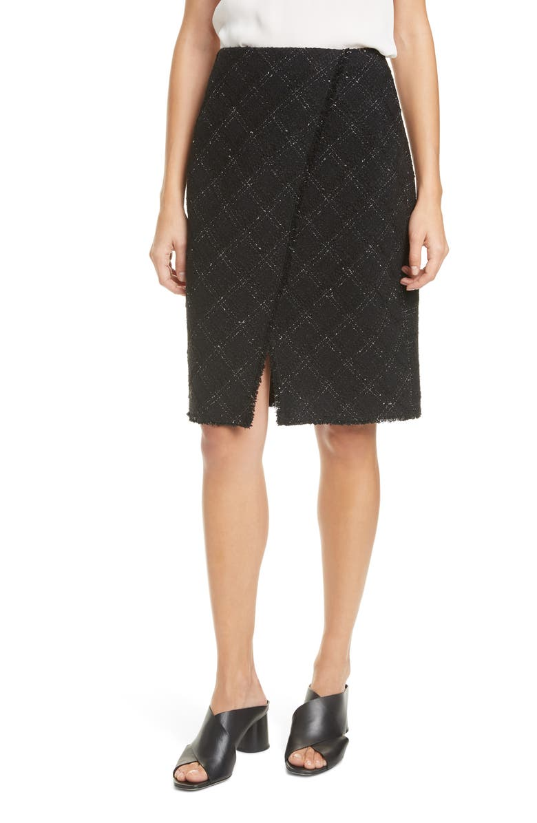 TAILORED BY REBECCA TAYLOR Textured Tweed Skirt, Main, color, 014