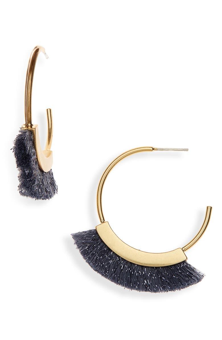 MADEWELL Fringe Hoop Earrings, Main, color, HEMATITE LUREX