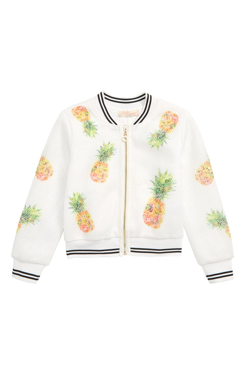 TRULY ME Pineapple Mesh Bomber Jacket, Main, color, WHITE