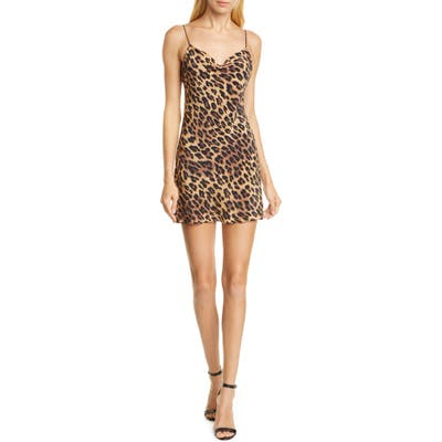 Alice + Olivia Harmony Leopard Print Drape Neck Slipdress, Brown