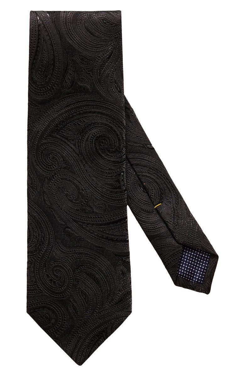 ETON Paisley Silk Blend Tie, Main, color, BLACK