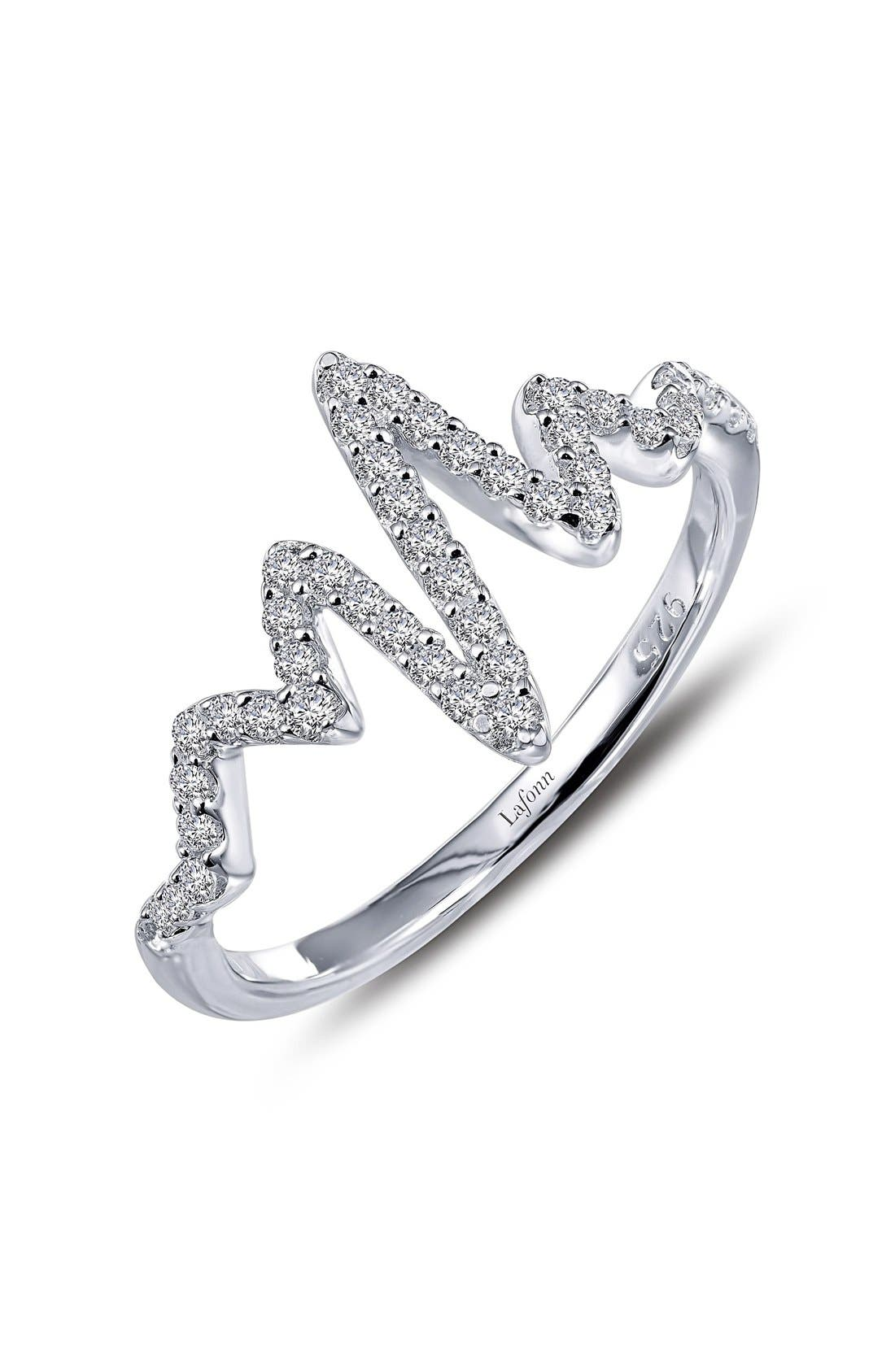 Forty-five sparkling simulated diamonds dust the meandering lines of a striking ring that beautifully represents the percussive and enduring quality of your unique heartbeat. Style Name: Lafonn \\\'Lassaire\\\' Pulse Ring. Style Number: 5164254. Available in stores.