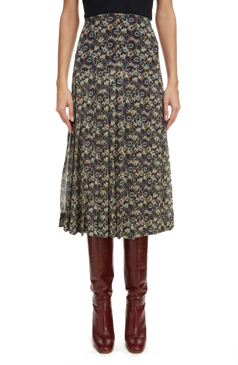 VICTORIA BECKHAM High Waist Pleated Silk Skirt, Main, color, OFF WHITE/ NAVY