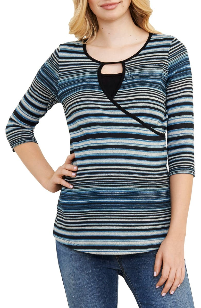 MATERNAL AMERICA Stripe Crossover Maternity/Nursing Top, Main, color, TEAL STRIPES