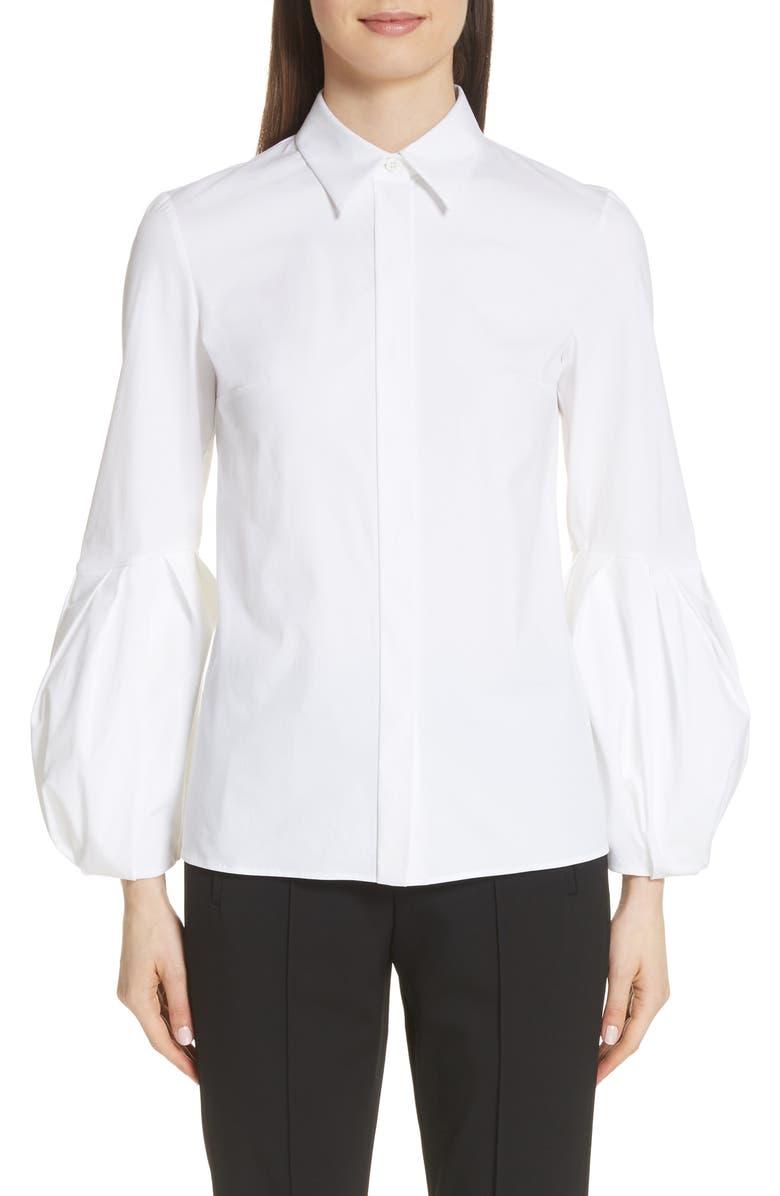 MICHAEL KORS Puff Sleeve Stretch Poplin Shirt, Main, color, 100